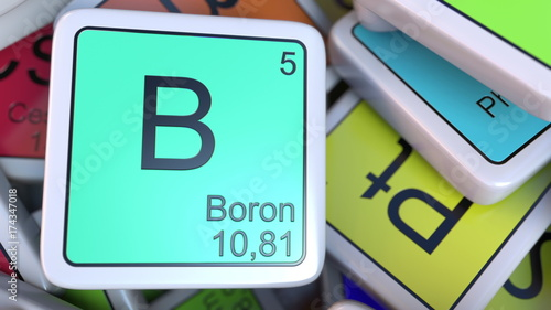 Boron Block On The Pile Of Periodic Table Of The Chemical Elements