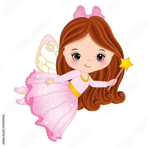 Vector Cute Little Fairy with Magic Wand