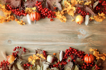 Autumn Background. Seasonal Autumn Nature Berries, Pumpkins, Apples, Flowers On The Wooden Background. Autumn Still Life