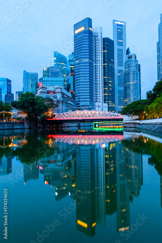 Singapore Downtown Skyline at Break of Dawn