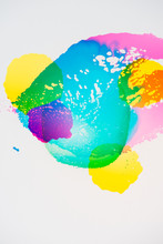 A Group Of Colorful Vibrant Transparent Colors On White.