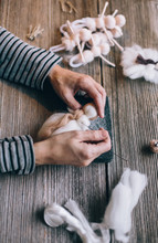 Handmade Production Of An Angel Made Of Merino Wool