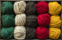 Colorful Yarn Balls In Crate