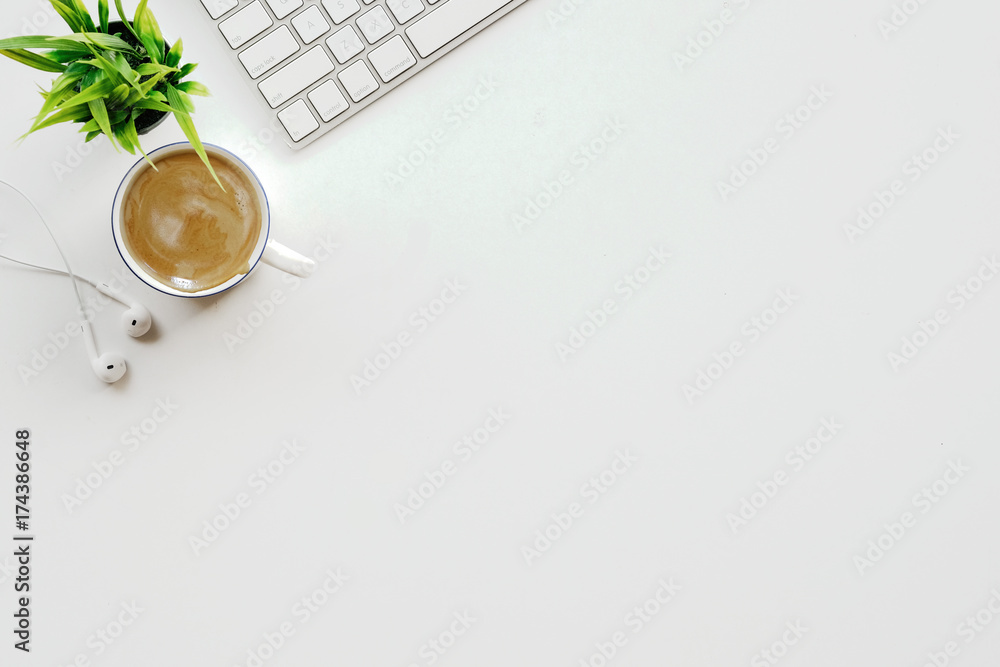 Fototapety, obrazy: Stylish minimalistic workplace with keyboard, office plant and coffee in flat lay style. White background. Top view.