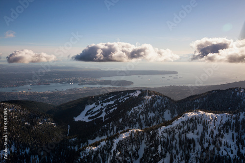 Aerial View Of Grouse Mountain And Vancouver Downtown City, BC, Canada, In  The