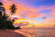 canvas print picture - Beautiful sunset on Bang Po beach. Koh Samui in Thailand.