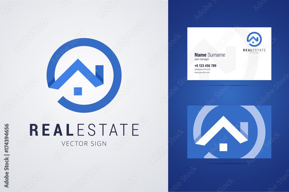 Immobilien Logo Und Visitenkarte Vorlage Foto Poster