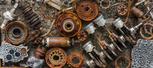Rusted metallic car parts. © pavlik011