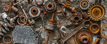 Rusted Metallic Car Parts.