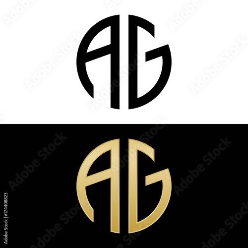 ag initial logo circle shape vector black and gold Canvas Print
