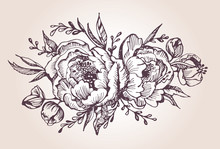 Lower Set: Highly Detailed Hand Drawn Flowers And Leaves. Vector Illustration