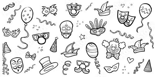 Set Handgezeichnete Karnevals Symbole Schwarz Weiss