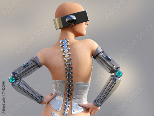 3D rendering of a sexy female android robot. Canvas Print
