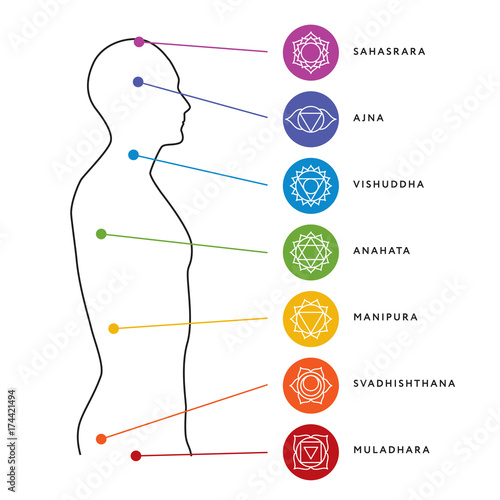 Chakra system of human body chart Canvas Print
