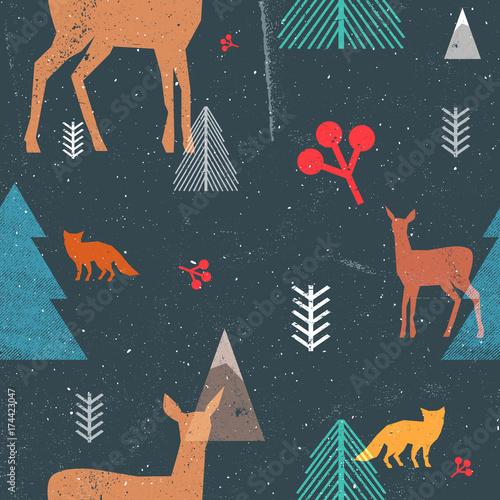 Stoffe zum Nähen Weihnachten Musterdesign mit Waldtiere und Bäumen in grafischen Stil. Vektor-Illustration mit Grunge Texturen und abstrakte klare Formen. Dunkle Farben blau und braun.