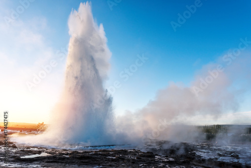 Erupting of Geysir geyser Canvas Print