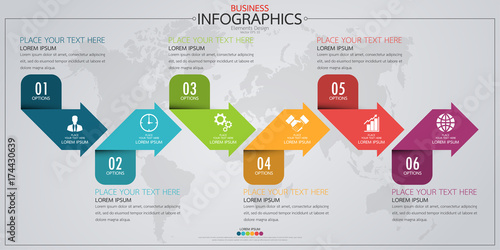 Fototapeta Infographic business horizontal timeline process chart template. Vector modern banner used for presentation and workflow layout diagram, web design. Abstract elements of graph options. obraz