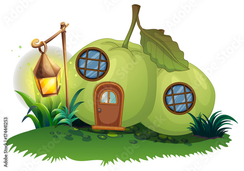 Foto op Canvas Pistache Scene with guava house with lantern