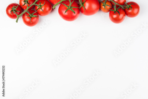 Tomato on the white background. Healthy food. Tomatoes on white background. Top view. Copy space