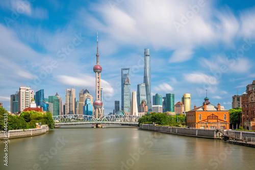 Plakat Widok w centrum Szanghaj linia horyzontu