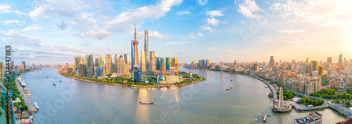 Photo Stands Asian Famous Place View of downtown Shanghai skyline