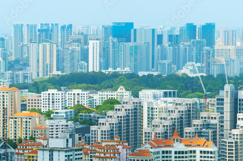 Photo  Singapore real estate overlooking