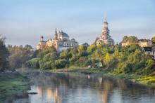 Boris And Gleb Monastery And Tvertsa River In The Morning In Torzhok, Tver Oblast, Russia