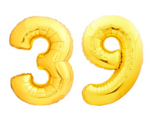 Golden Number 39 Thirty Nine Made Of Inflatable Balloon
