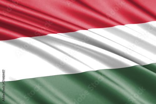 Plakat machać flagą węgierską