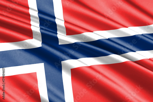 Plakat macha flagą Norwegia