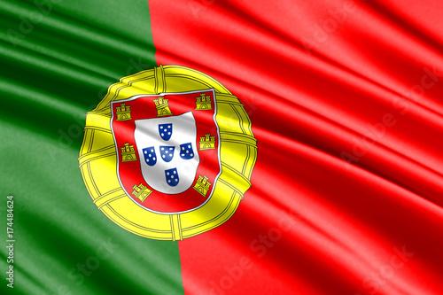 Plakat machać flagą З portugalia