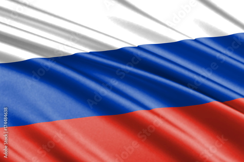 Plakat macha flagą Rosja