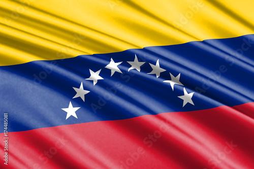 Plakat machając flagą Wenezuela