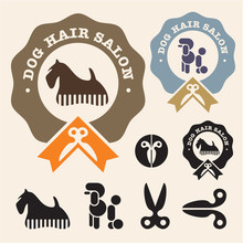 Dog Hair Salon. Poodle, Scottish Terrier Vector Icon Set