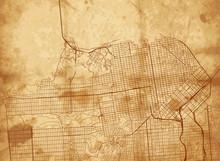 Vector Vintage Map Of San Fran...