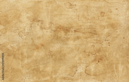 Fotografie, Obraz  Old brown paper texture with stains