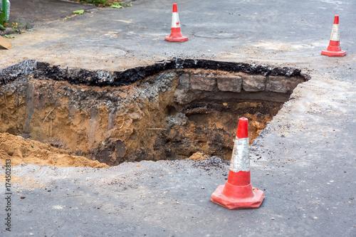 Fototapeta The road repair work.