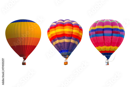 Recess Fitting Balloon Triple hot air balloons isolated on white background