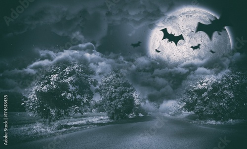 Composite image of digital image of silhouette bat