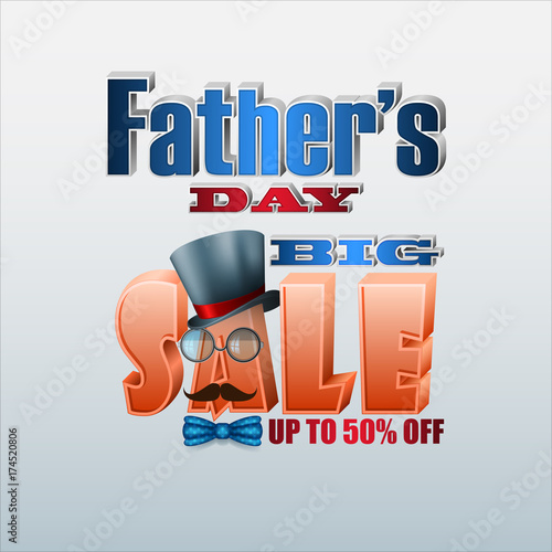 Fotografia, Obraz  Design, background with allegorical 3d texts for Father's day sales, commercial