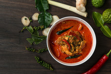 Chicken Curry With Different Spices On Dark Background, Delicius Chicken Panang Curry, Thai Food, Selected Focus.