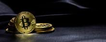 Bitcoins Stack On Black Backgr...