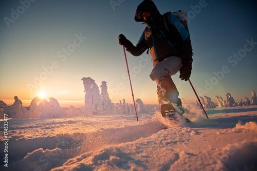 Tuinposter Wintersporten Schneeschuh wandern Harz Winter