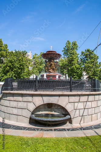 Photo  Vitali fountain on Revolution square in Moscow, Russia