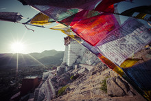 Prayer Tibetan Flags Near The Namgyal Tsemo Monastery In Leh, Ladakh