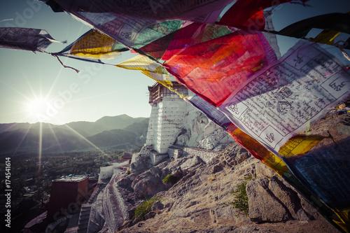 Poster Taupe Prayer tibetan flags near the Namgyal Tsemo Monastery in Leh, Ladakh