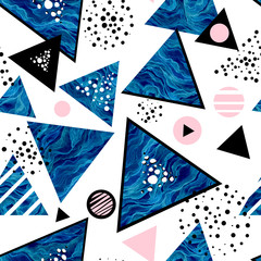 Fototapeta Abstract Seamless Pattern of Watercolor Blue Triangles