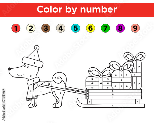 Color by number for preschool and school kids. Christmas ...