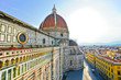 View of the Florence Cathedral in Florence on a sunny day.