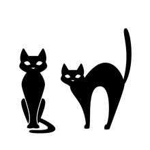 Black Cat, Scary Cartoon Hallo...